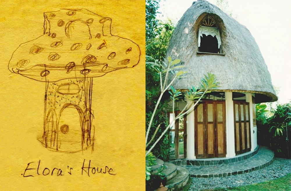 Elora Hardy designed a 'fairy mushroom house' when she was a child. Her mother later went on to build it