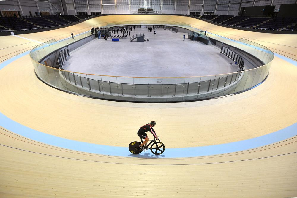 Sir Chris Hoy takes to the velodrome, which has been named in his honour