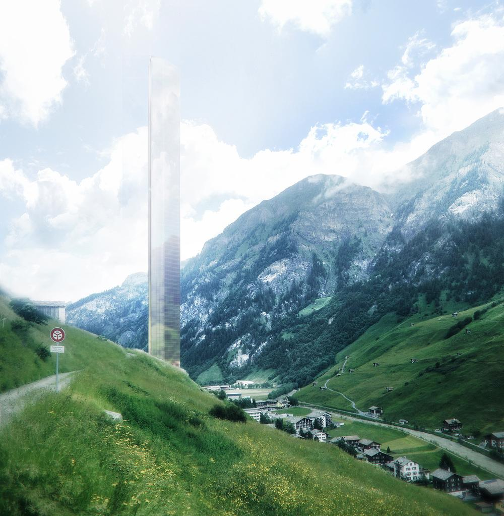 Mayne unveiled his designs for the 381m-tall 7132 tower  in Vals in 2015 / image: Morphosis Architects