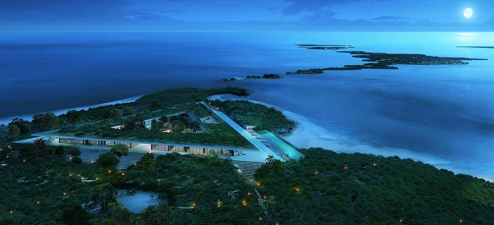 The design for Norman's Cay resort accentuates the beauty of its surroundings while remaining hidden in the topography