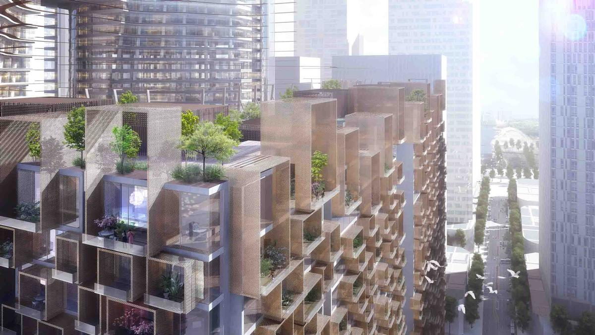 Greenery will be integrated into the fabric of the towers; with gardens on every floor / Ingenhoven Architects, M+S Pte Ltd, Gustafson Porter