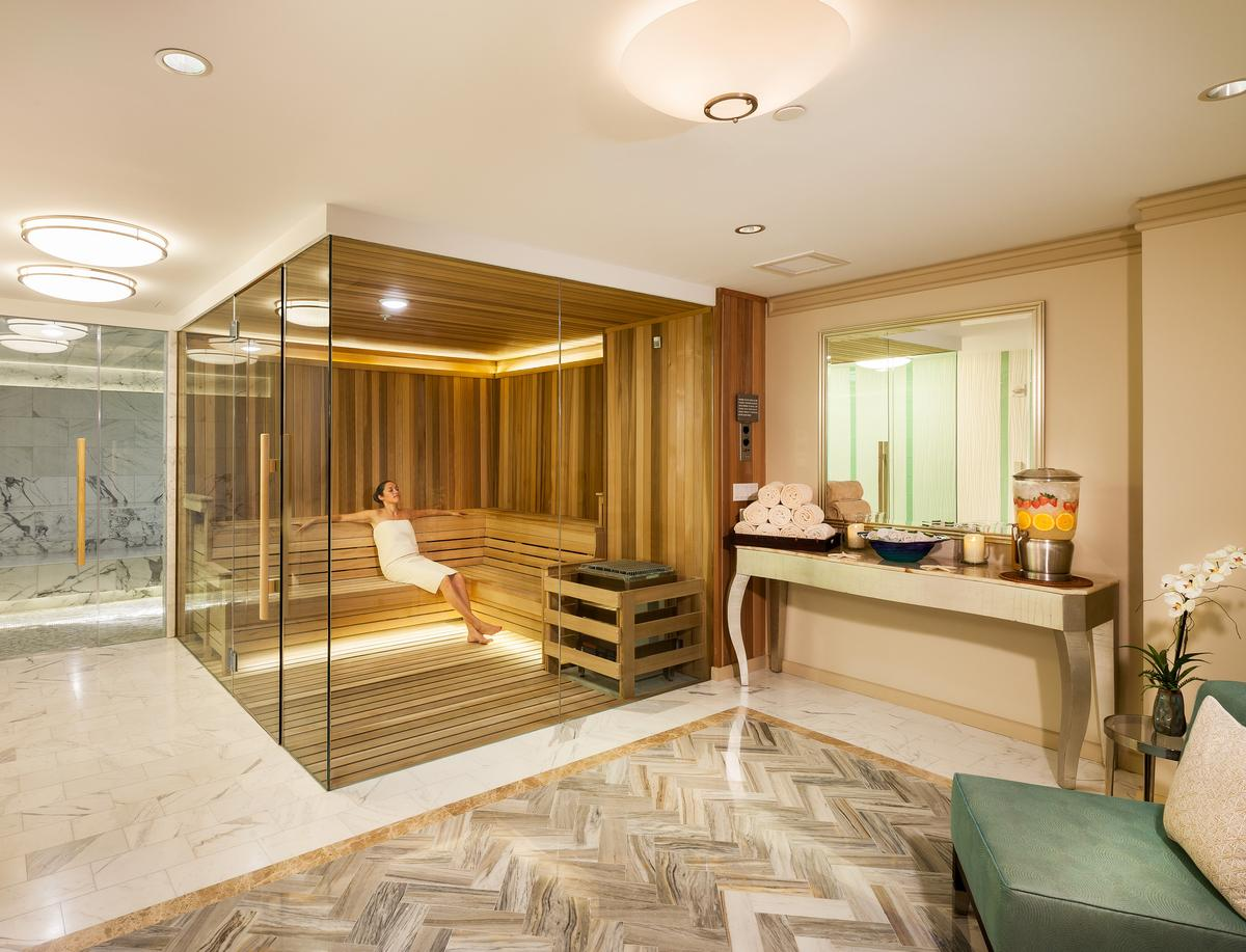All new marble and mosaic tile wet areas include a steamroom, wet room and sauna / Ritz-Carlton