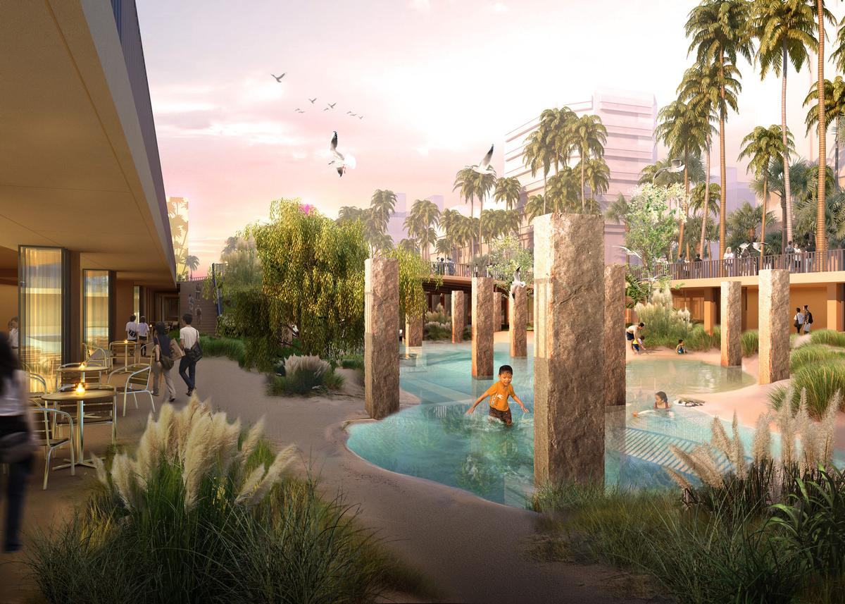 The complex is designed to bring back the city's lost connection with water / APLUS CG