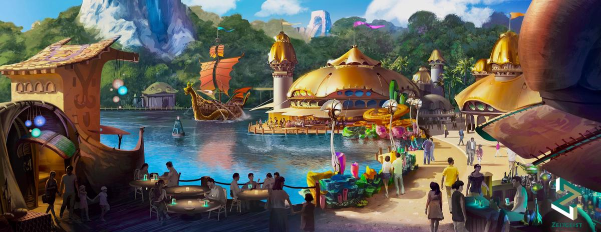 The immersive theme park experience in the Lido Lakes region will be set across 40 hectares of land / ZD+P