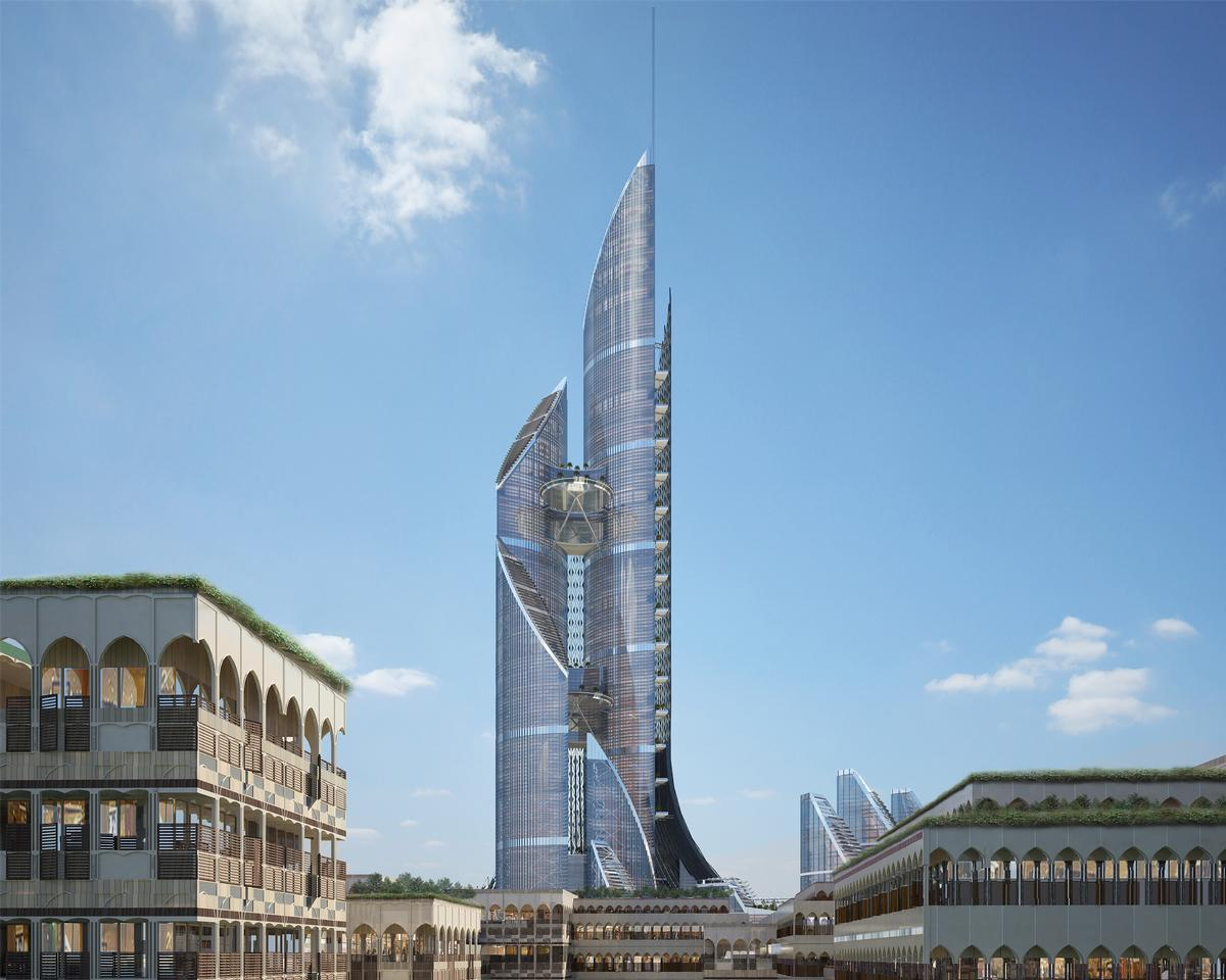 The project has been described as 'the first vertical city in the world, the tallest structure in the world and a groundbreaking project in all disciplines of engineering' / AMBS Architects