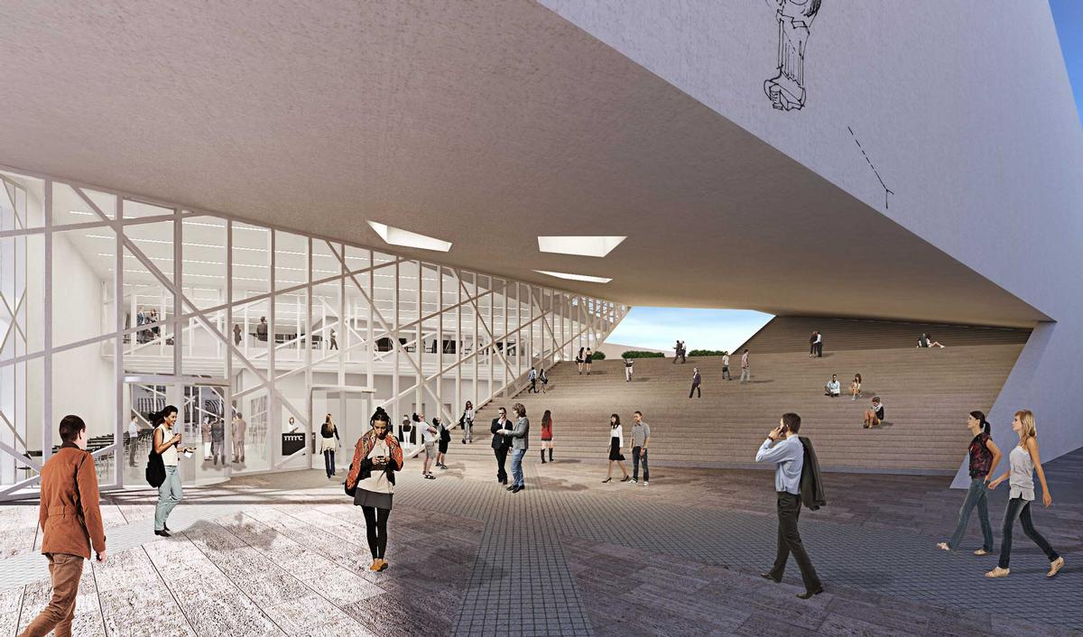 A dramatic staircase will link a new public plaza with a slanted rooftop garden / Studio Libeskind