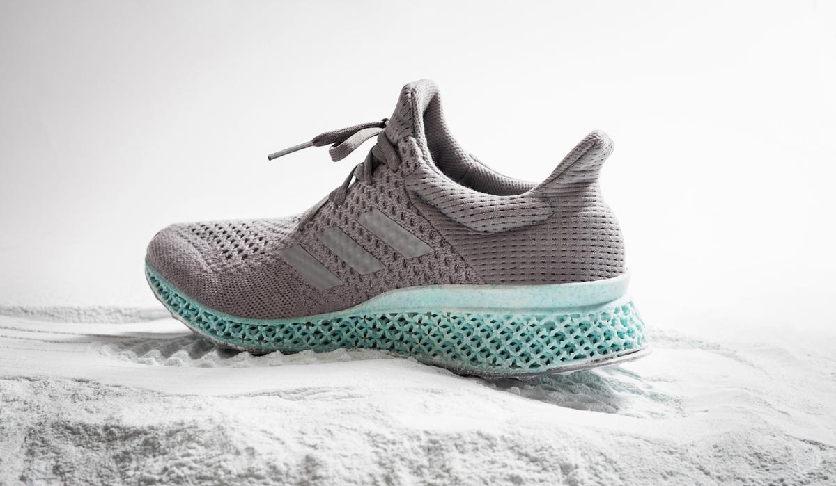 The Ocean Plastic shoe consists of an upper made with ocean plastic content and a midsole which is 3D printed using recycled polyester and gill net content / Adidas