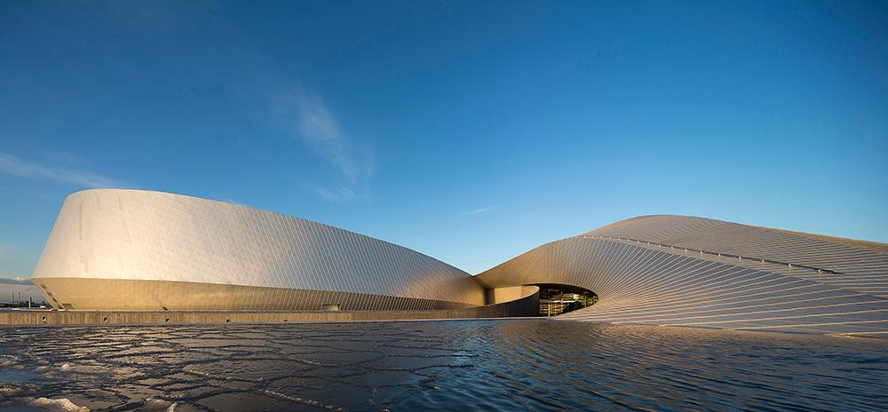 The shape of the aquarium resembles a giant whirlpool