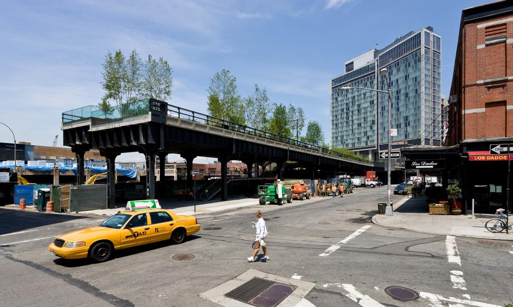 The High Line runs underneath the Standard Hotel in New York's Meatpacking District