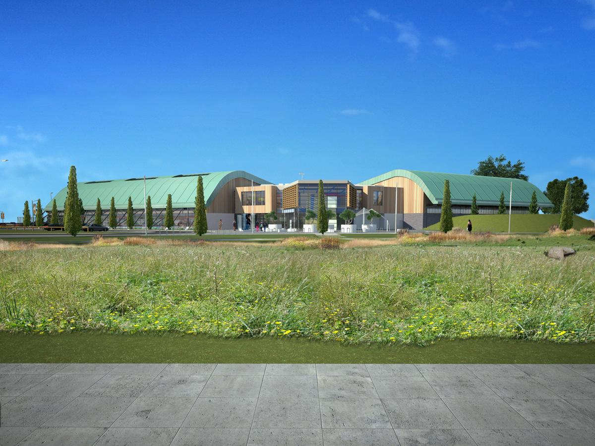 The leisure centre has been designed so that its architecture 'blends seamlessly' into the natural surroundings