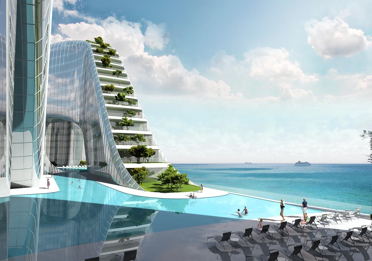 A sky deck, swimming pool and terrace gardens feature, while marine and mountain leisure activities will be offered / Planning Korea