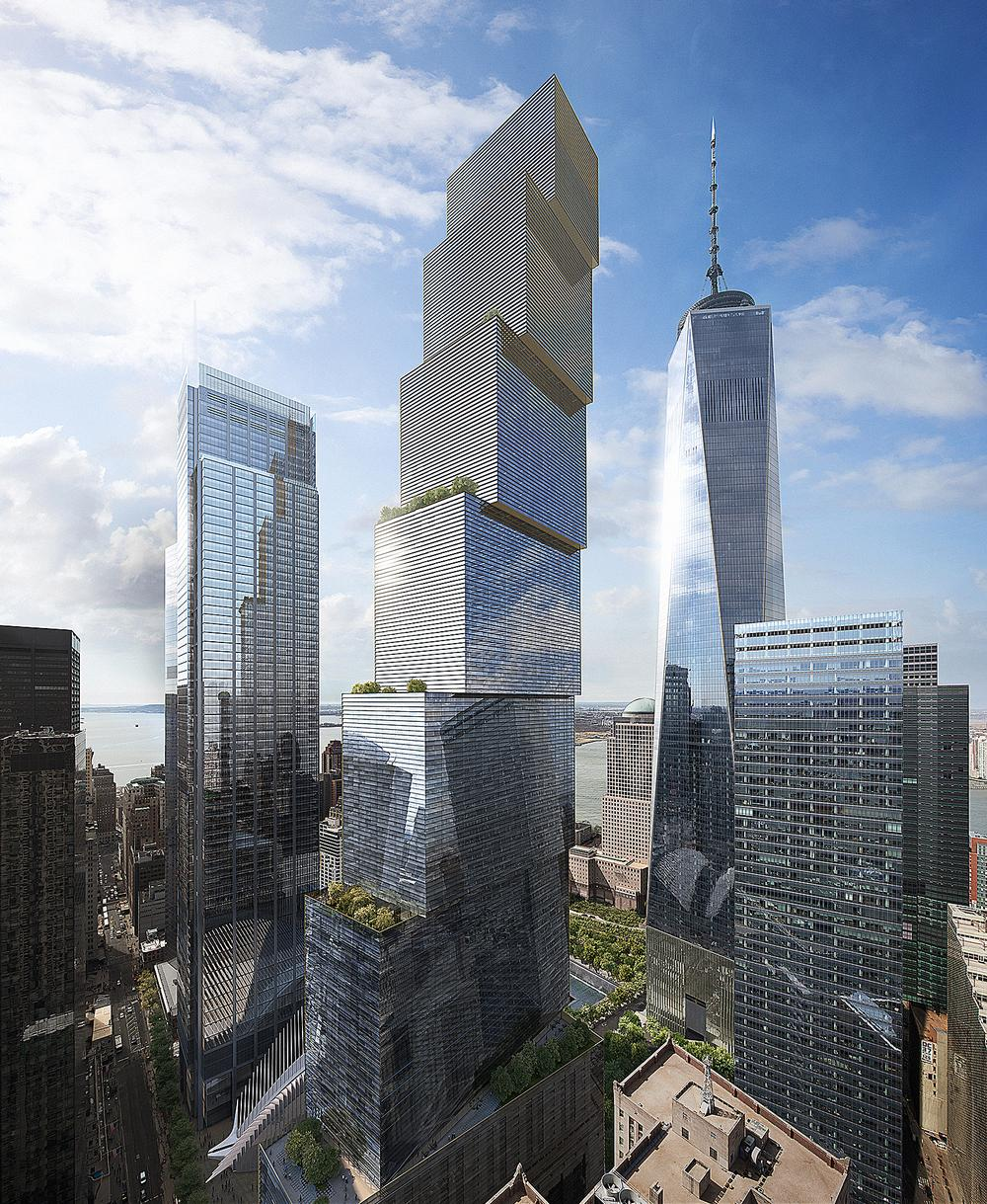 2 World Trade Center consists of seven stacked volumes with a public plaza at the base / Image: DBOX
