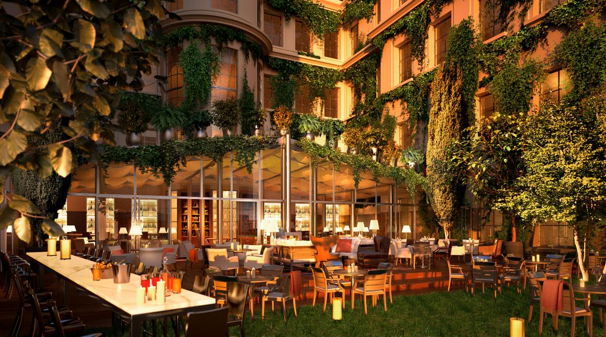 Two restaurants, including one located on a veranda overlooking the lush hotel gardens, will be complemented by a bar and a caviar lounge as part of the design / Rosewood