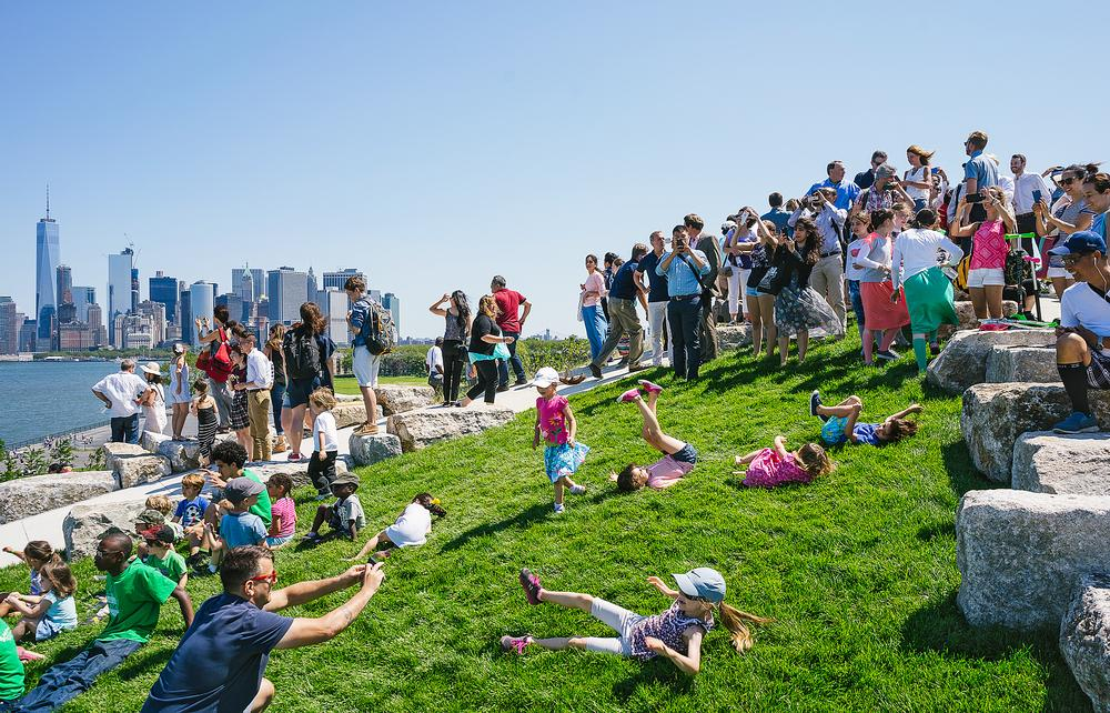 The final phase of the Governors Island park project opened in July 2016, with sloping landscapes offering views of New York Harbor / Photo: Noah Devereaux