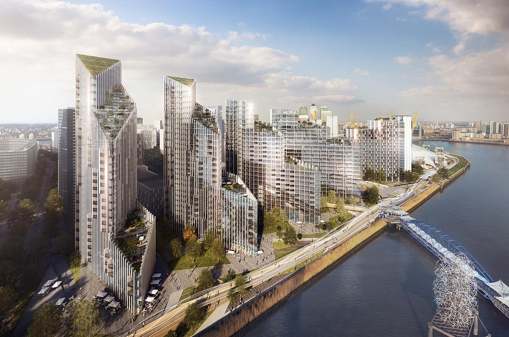 Greenwich Peninsula's Upper Riverside features five towers and a 5km sculptural running trail / Photo: Press Association