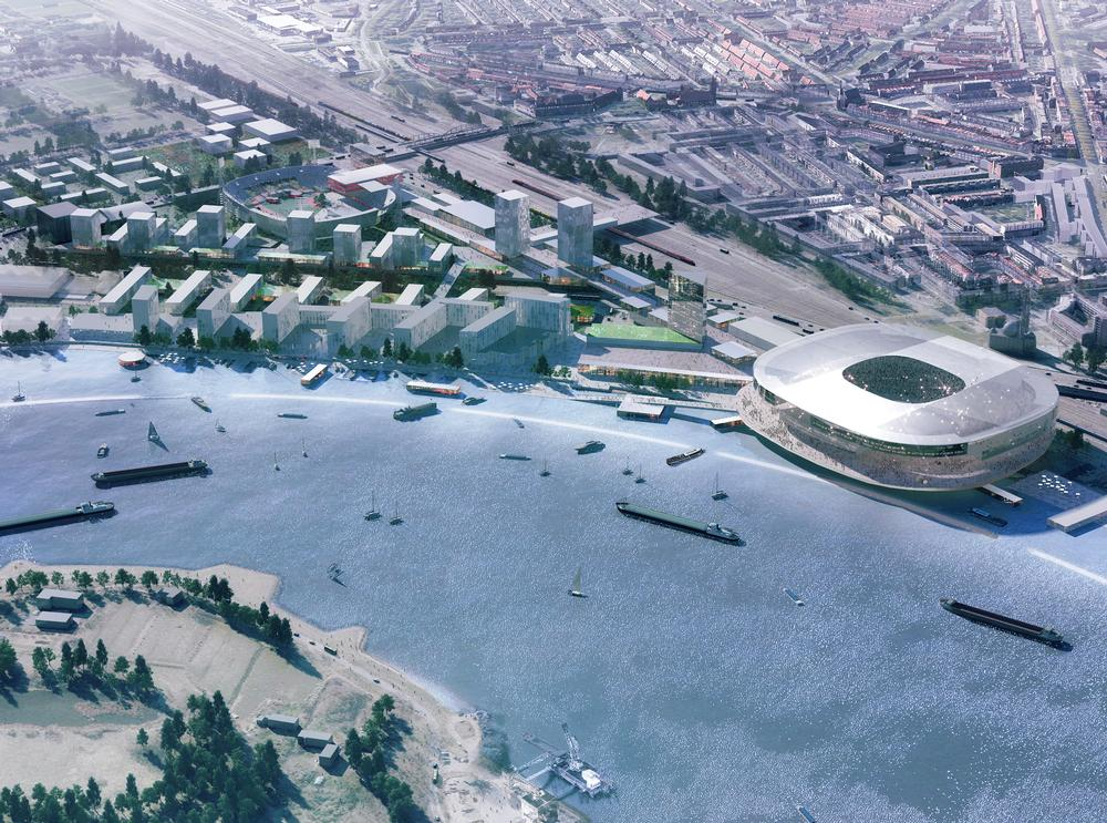 OMA are designing a new stadium for Feyenoord FC on the River Maas in Rotterdam  / Image: ©OMA