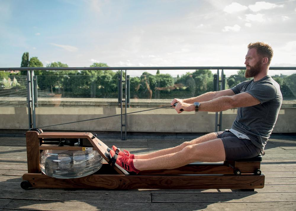 GB rower Will Satch demonstrating correct stroke technique on the WaterRower