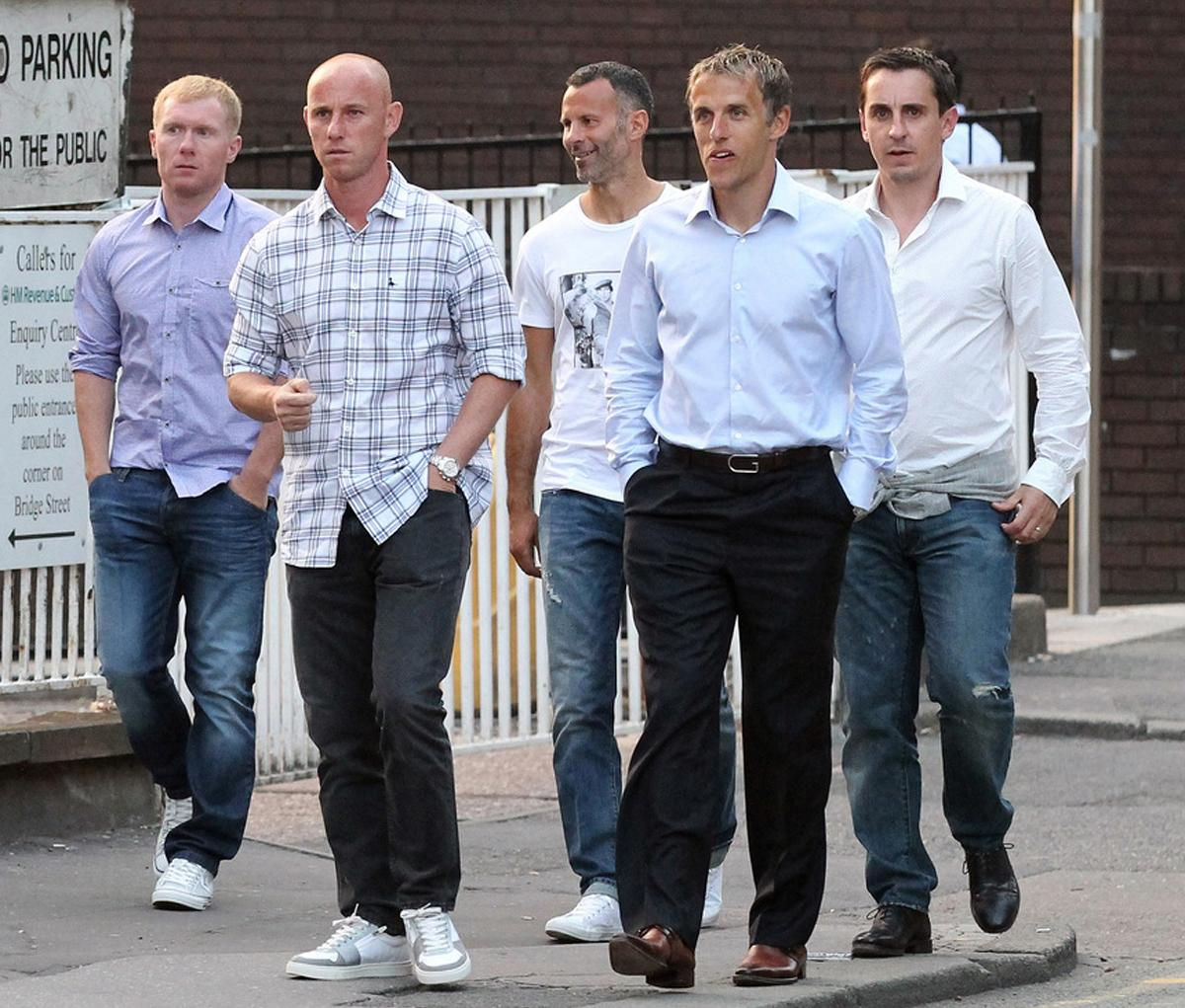 Hotel Football is the brainchild of five Man Utd legends –(from left) Paul Scholes, Nicky Butt, Ryan Giggs, Phil Neville and Gary Neville