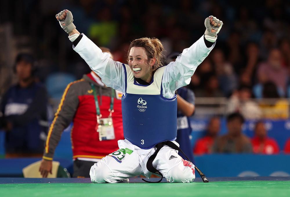 Team GB's Jade Jones taking the taekwondo gold medal at Rio 2106. The sport has no females in senior roles