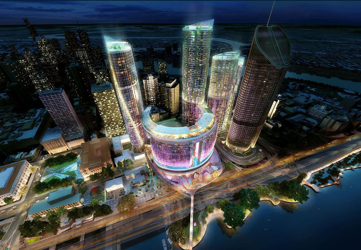 A rendering of the proposed plans for Queen's Wharf, by EEG. / Destination Brisbane Consortium 2014