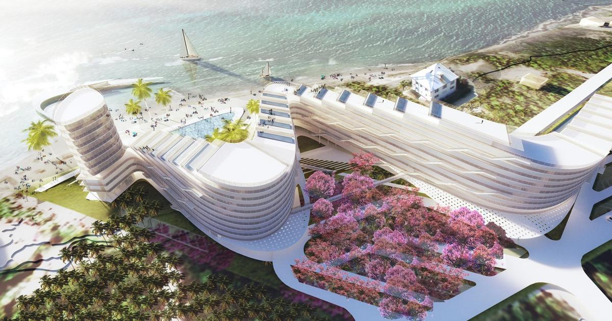 Forest, parkland and ocean will surround the resort's main white-clad building, which will form one connected structure winding and rising like a staircase across the plot / TEN Arquitectos