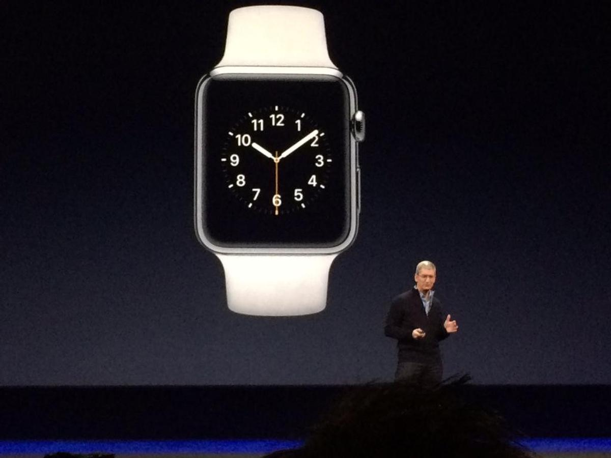 Tim Cook revealed details of the Apple Watch, which goes on sale 24 April / Apple