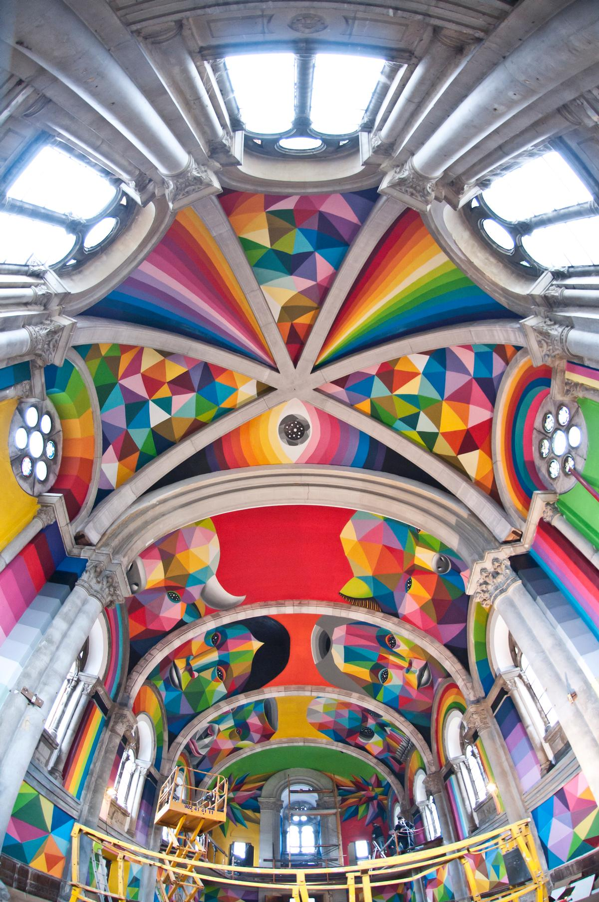 The unique paintings were created by Spanish artist Okuda San Miguel after money was raised by crowdfunding