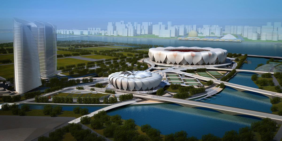 The Hangzhou Sports Park has been designed in collaboration with architects and engineering firm China Construction Design International / NBBJ Design