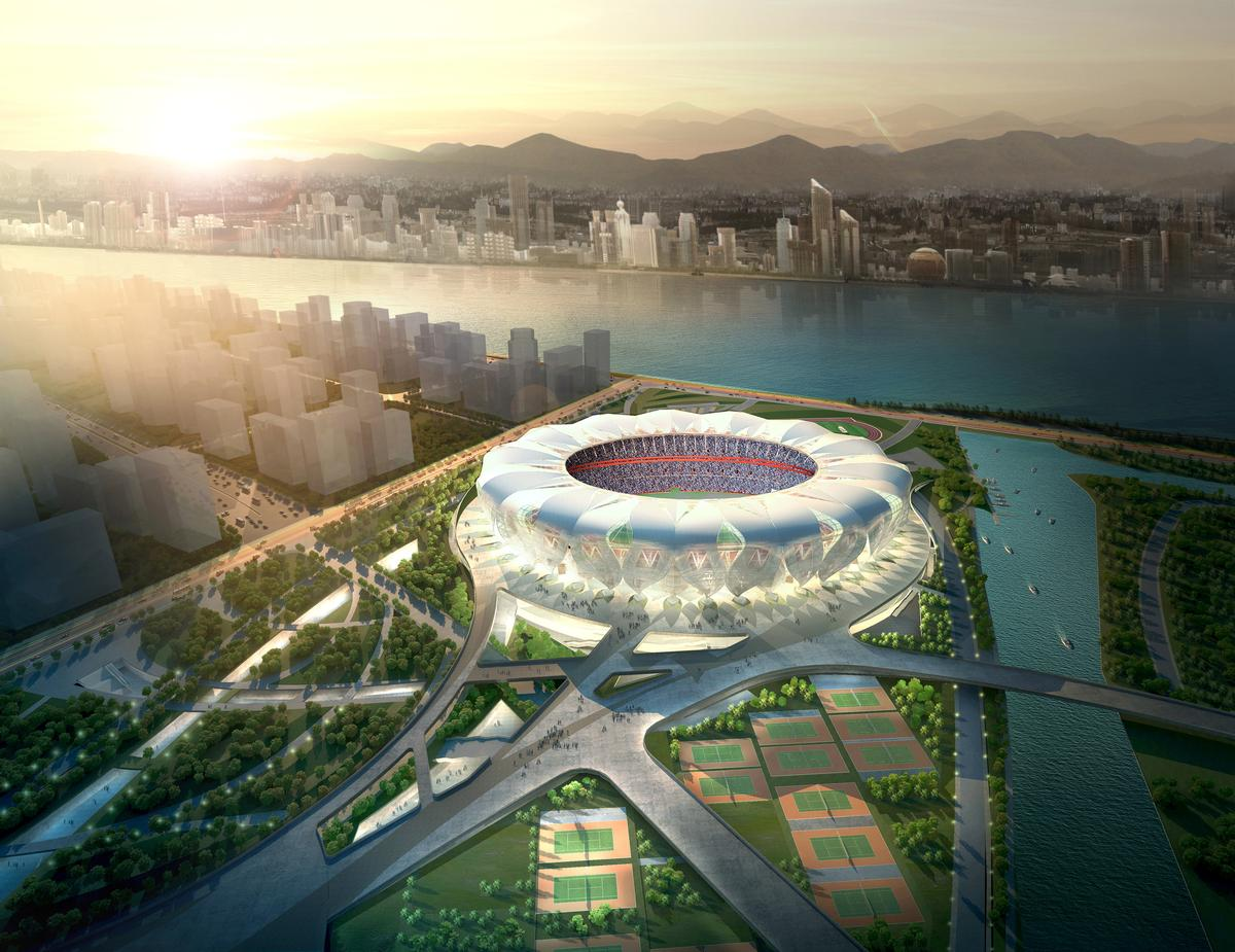 The Hangzhou Sports Park will also feature an aquatics centre, a state-of-the-art athletics zone and a tennis centre / NBBJ Design