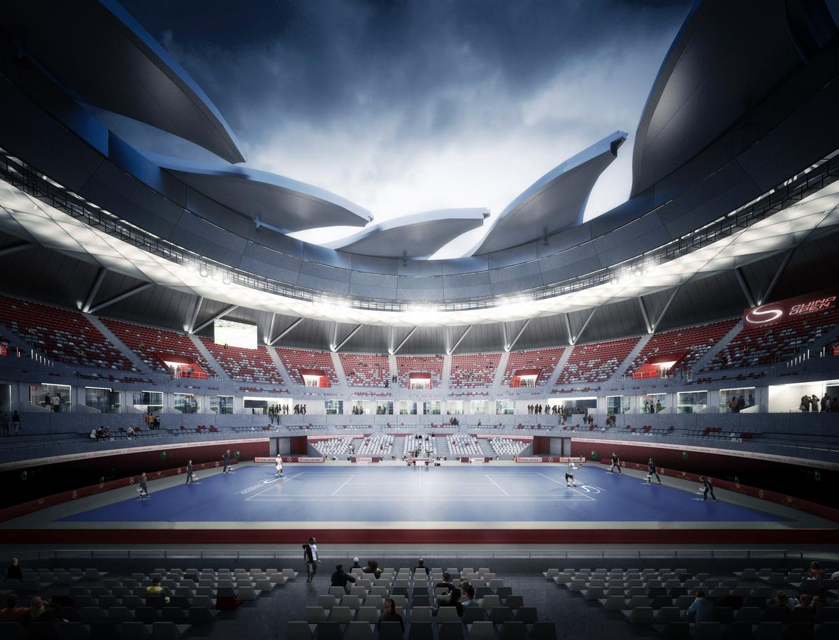 The tennis stadium will feature a rotating retractable roof / NBBJ Design