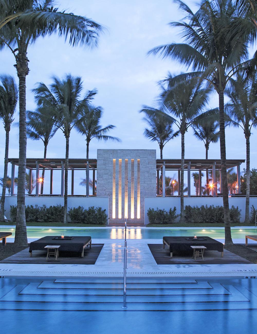 The Setai Miami, Florida, comprises an 87-room hotel and a condominium tower