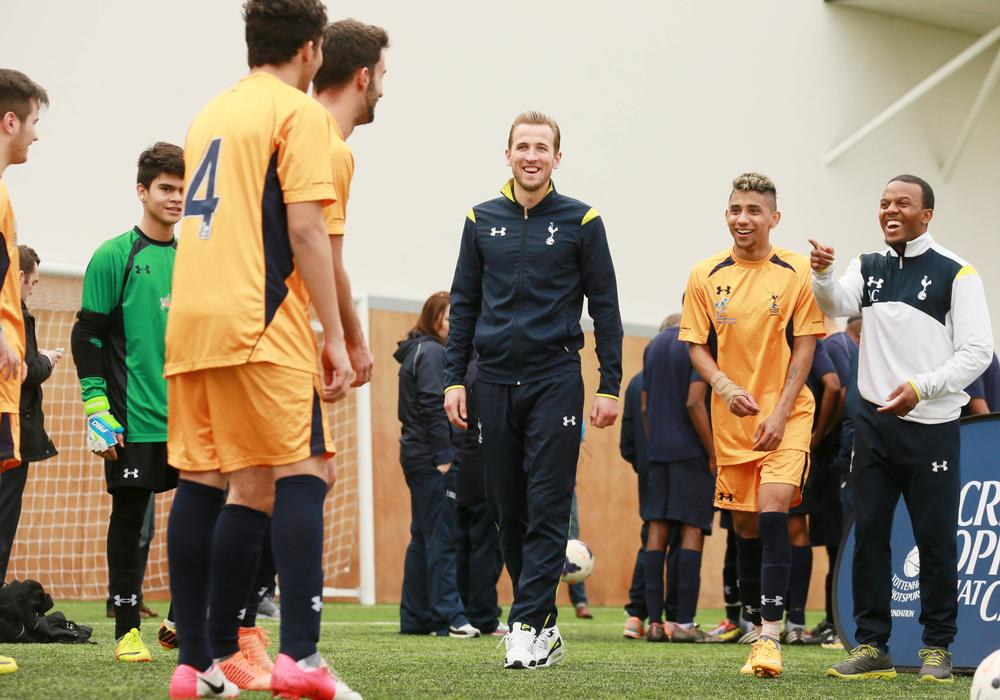 England and Spurs footballer Harry Kane coaches students in the Education and Football Development Programme