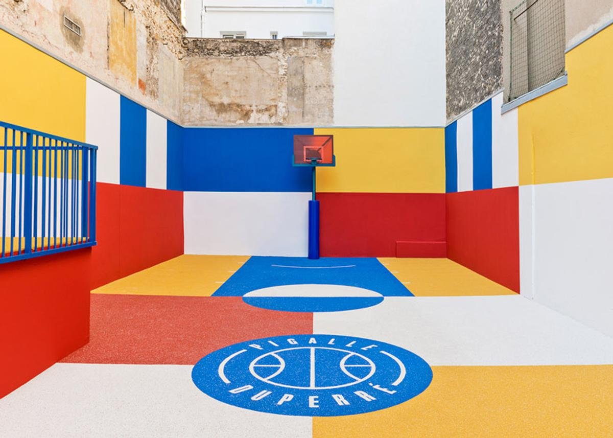 Local youths joined friends and family of the design team to create the court