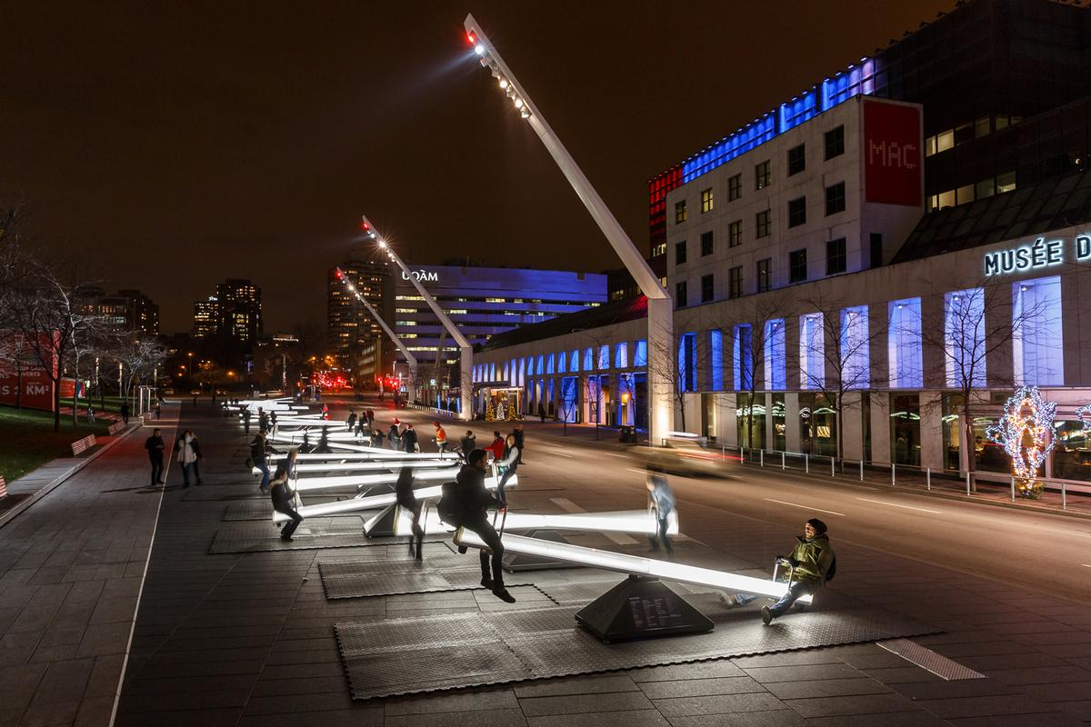 The 30 seesaws are located in downtown Montreal