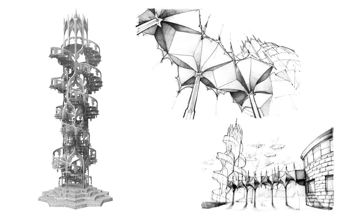 Artist Wim Delvoye's design for a tower linked to a new MONA boardwalk