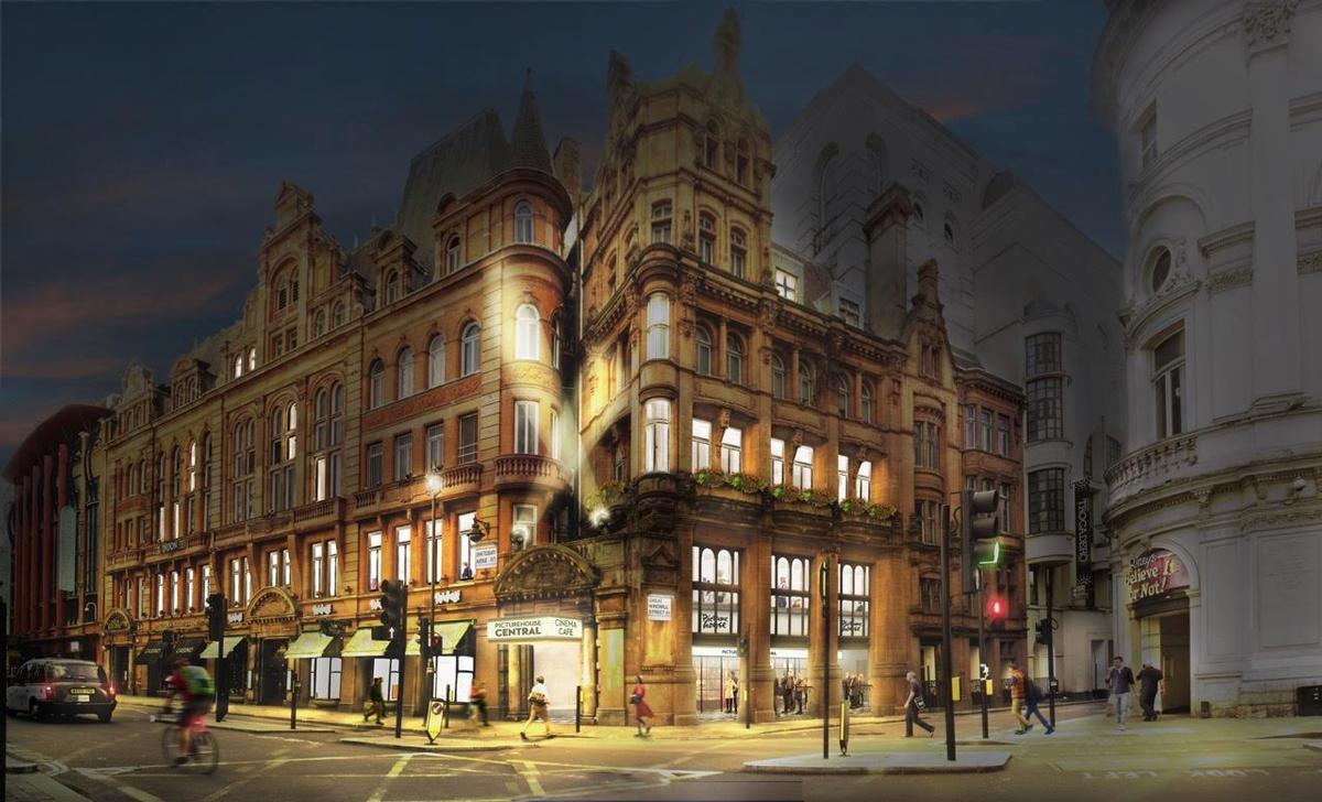 The Picturehouse Central entrance in the Trocadero's Baroque Grade II listed façade has been rejuvenated / Panter Hudspith
