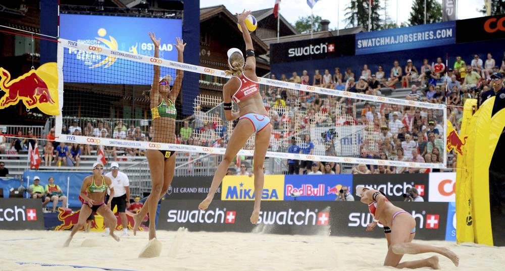 A temporary venue for beach volleyball has allowed for a landmark site to be chosen