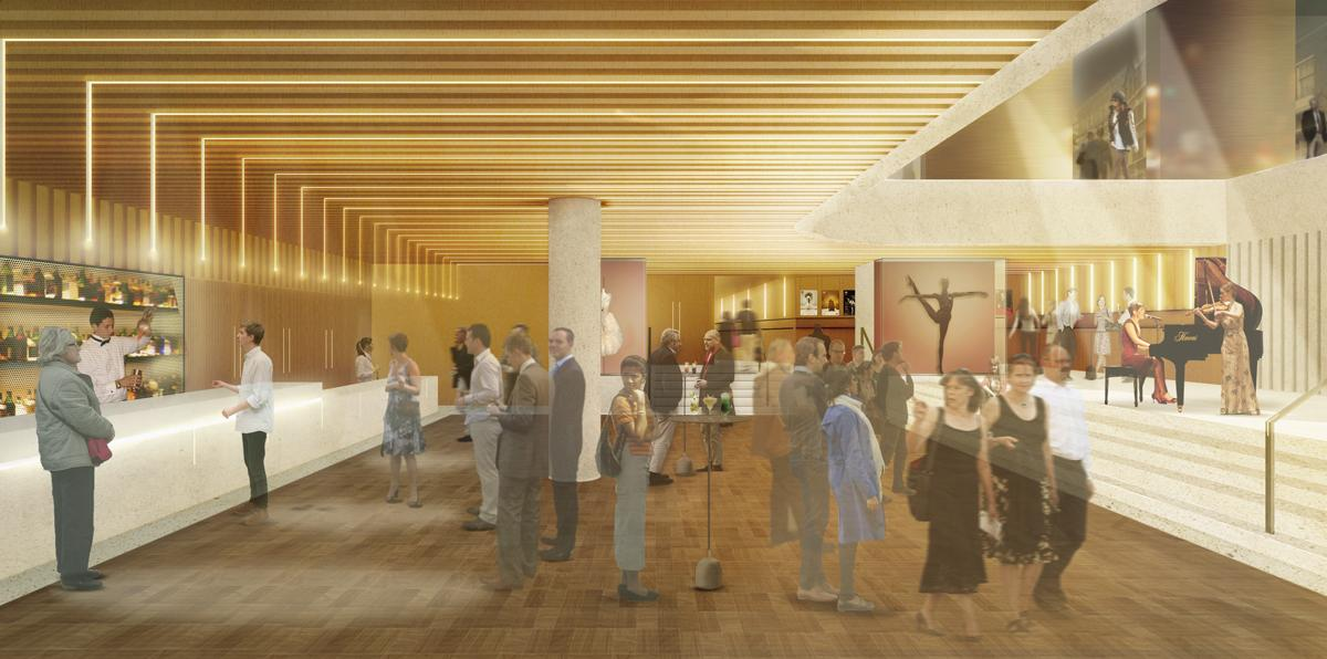 The Linbury Foyer will also be vastly opened up / Stanton Williams