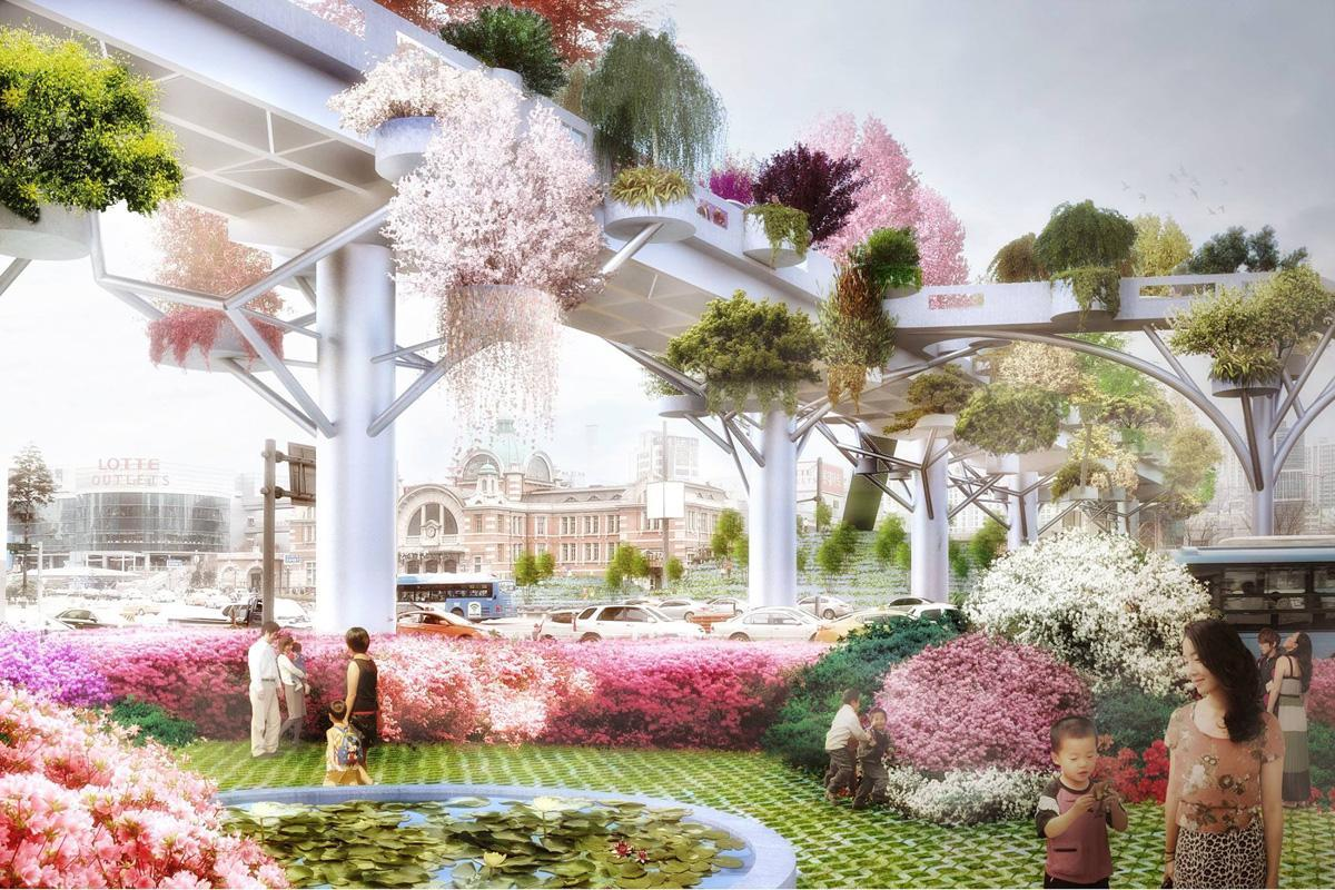 The overpass will be converted into a long and colourful public park and garden / MVRDV