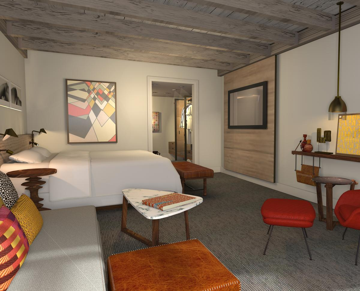 The design draws its inspiration from the innovative 1950s desert art scene, influenced by architects, artists and graphic designers such as Alexander Girard, Frank Lloyd Wright and Paolo Solari / Hyatt