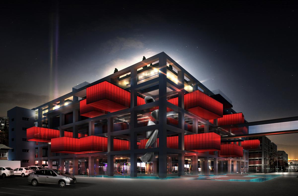Large Overhanging Red Containers Will Contain 15000 Art
