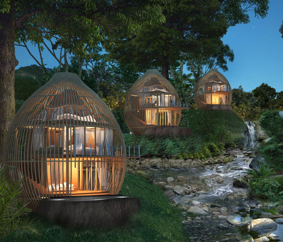 The seven Tree Pool Houses use building techniques to give the impression that the structures are suspended from trees / Keemala
