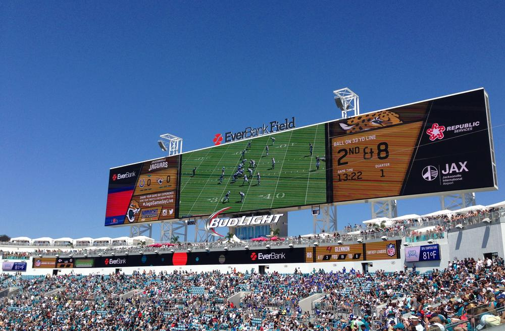 The 60ft x 362ft video board at EverBank Field was the largest traditional screen when built in 2014