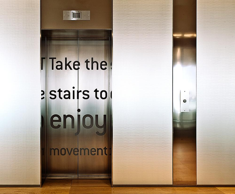 Text around the building reinforces the healthy lifestyle message