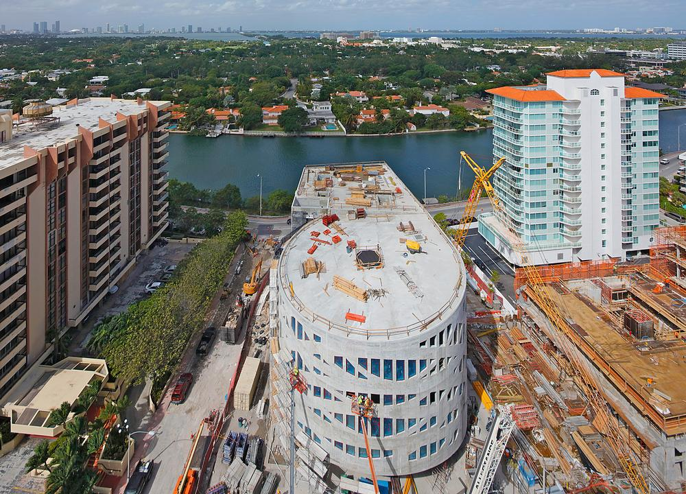 The cylindrical Faena Forum arts and cultural centre is currently taking shape in Miami, US