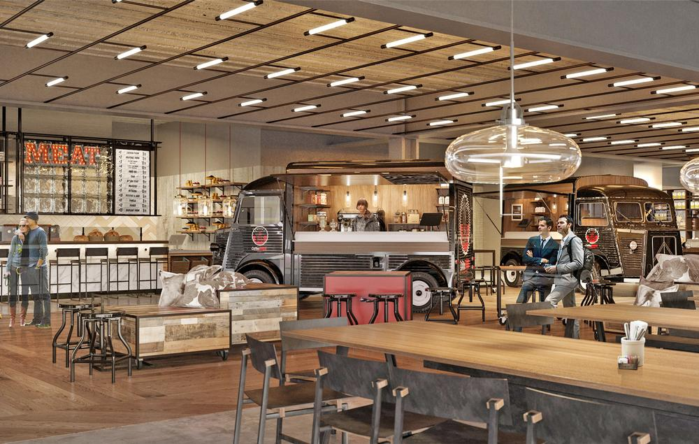 Rockwell's designs for the food hall in London's Battersea Power Station