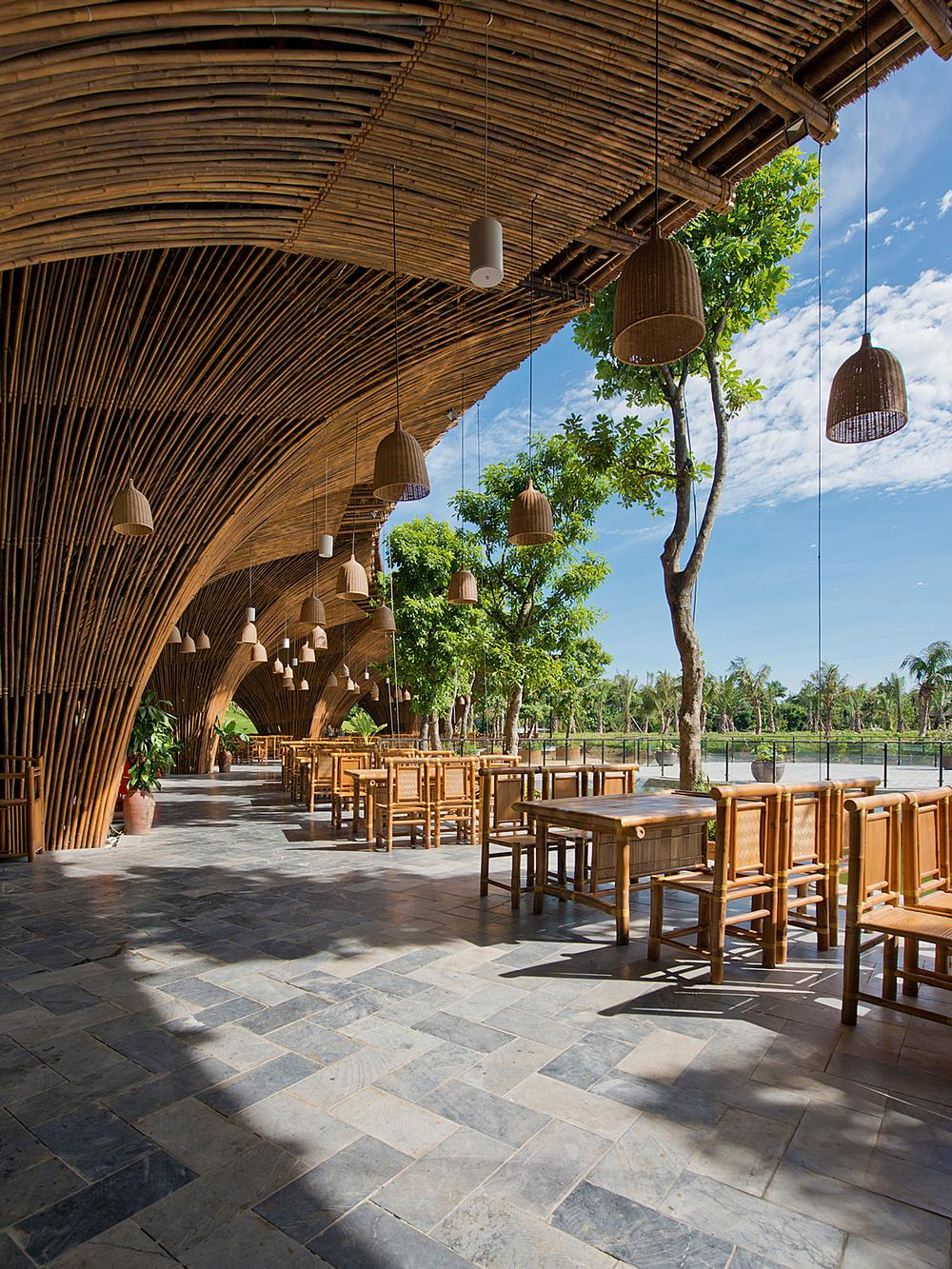 Vo Trong Nghia's Kontum Indochine Café in Central Vietnam has a bamboo clad roof