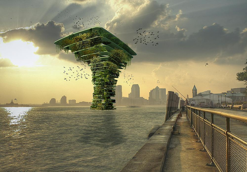 Olthuis' Sea Tree is a new concept for high density green space in cities, and would provide a floating habitat for flora and fauna / Images: Waterstudio