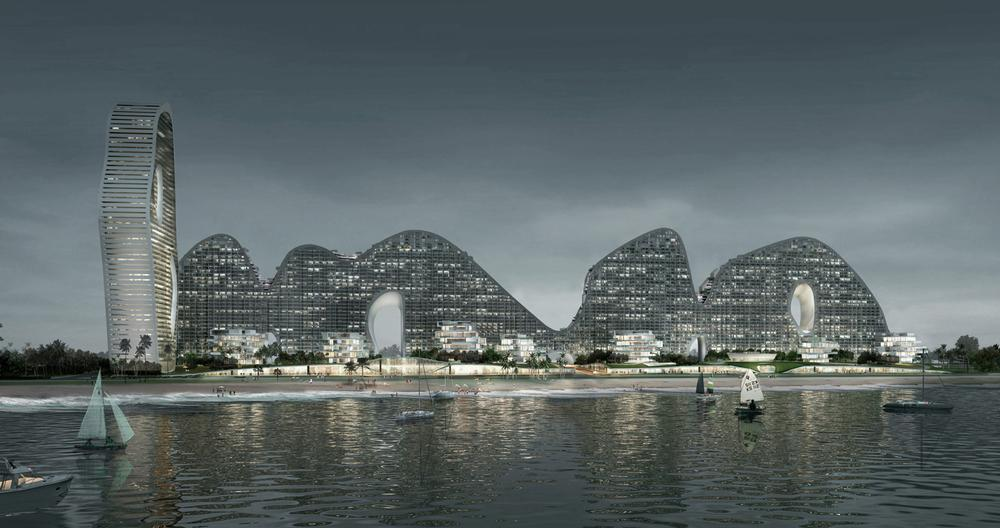 Chaoyang Park Plaza in Beijing features towers shaped like mountains