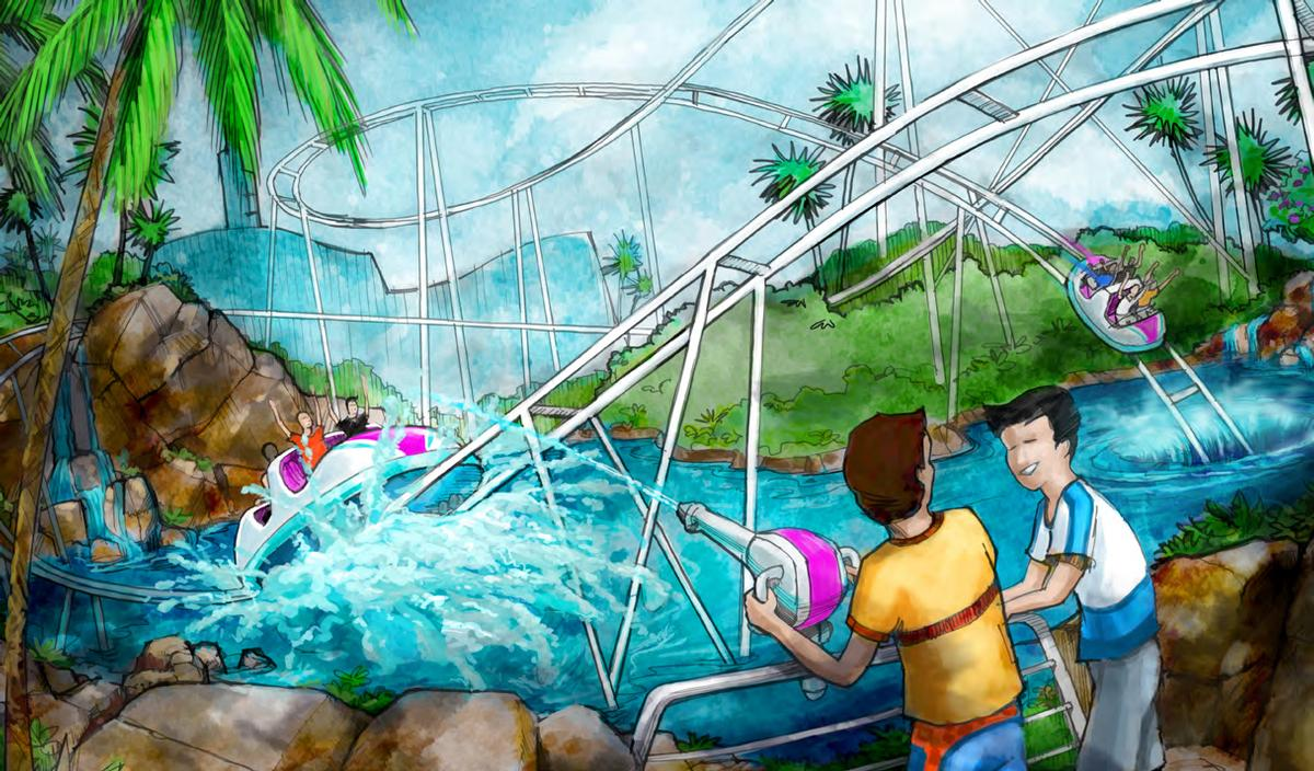 A rollercoaster that combines the action of a water ride with the interactive nature of a video game will be included / Jack Rouse Associates